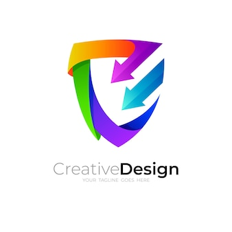 Shield logo and arrow design combination, 3d colorful icon template