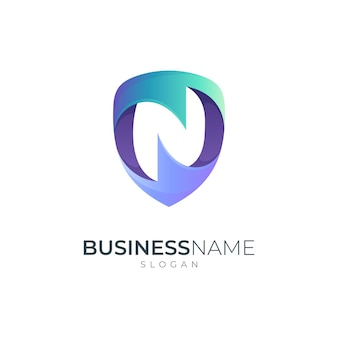 Shield logo combination with letter n