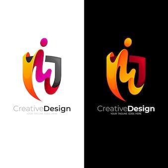 シールドロゴデザインの組み合わせ