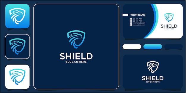 Shield logo design and eagle
