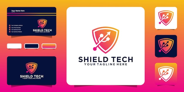 Shield logo design inspiration and usb data, and business card inspiration