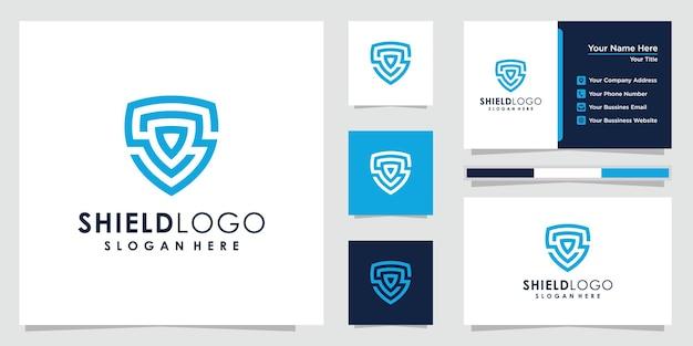 Дизайн логотипа щита shiled абстрактный логотип и дизайн визитной карточки.