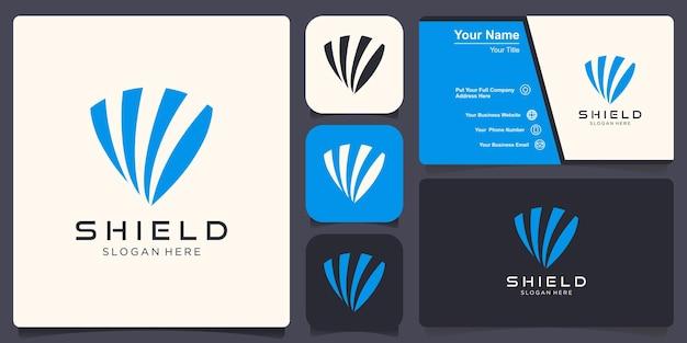Swoosh 컨셉 디자인이 있는 쉴드 로고 디자인 템플릿