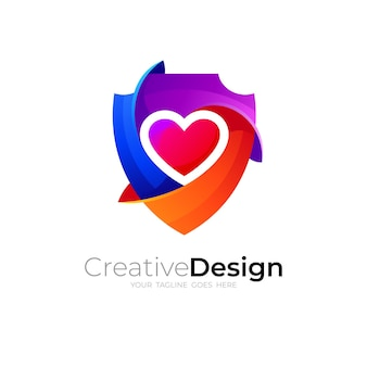 Shield logo design with love, 3d colorful