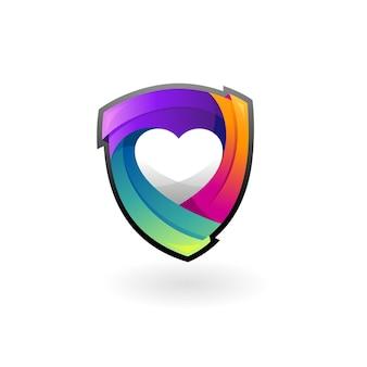 Shield logo and love logo combination, 3d style logo