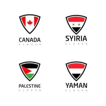Shield logo set of country