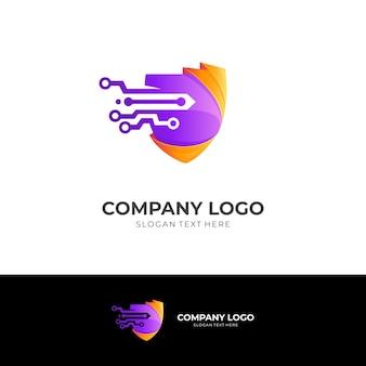 Shield logo and tech design template, 3d modern style