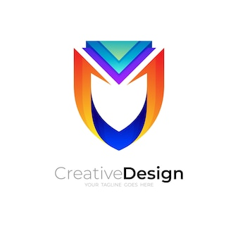 Shield logo with colorful design template