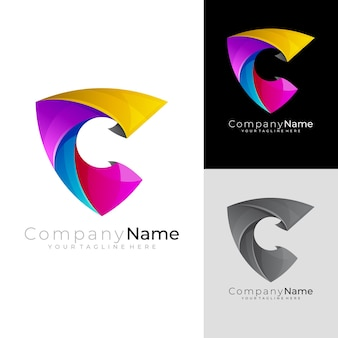Shield logo with letter c design vector, 3d colorful logos