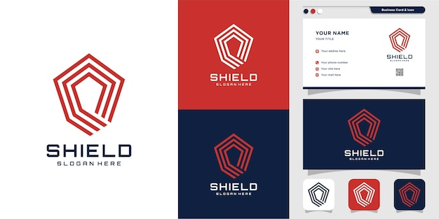 Shield logo with modern abstract concept premium vector