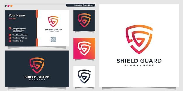 モダンなラインアートのコンセプトと名刺デザインの盾のロゴ