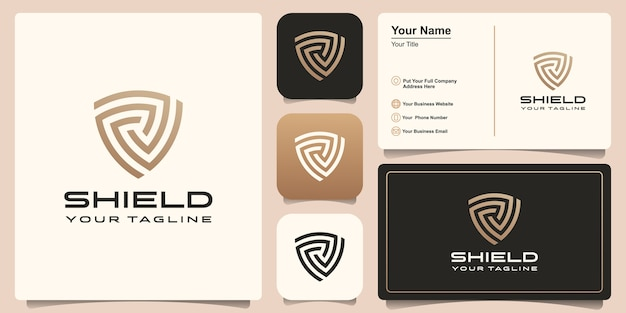 Shield logo with set of business card design template.
