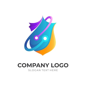 Shield logo with tech design vector combination, 3d colorful style