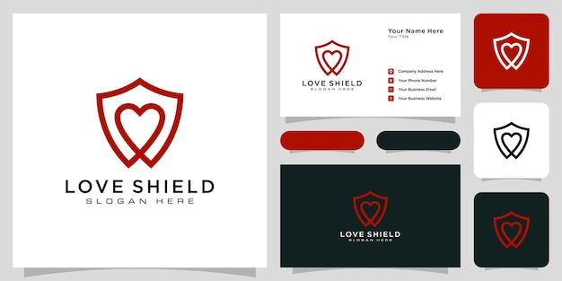 Shield and love logo template line style