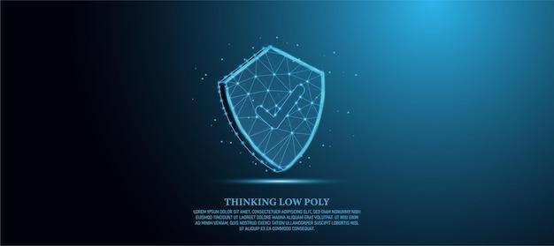 チェックマーク付きのシールド低ポリシールドセキュリティネットワークセキュリティコンセプトプライバシーシールドネオン抽象的な低ポリゴンワイヤーフレームワイヤーフレームシールド、青い背景