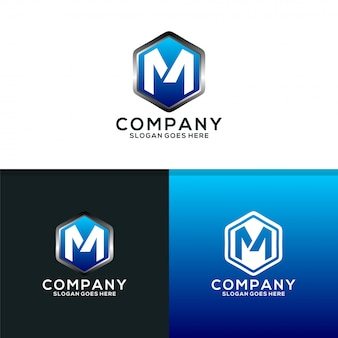 Shield of m logo design