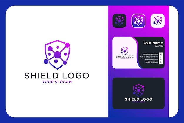 Shield molecule logo design and business card