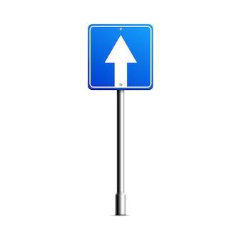 Щит дорожного знака с реалистичной изолированной стрелкой макета.
