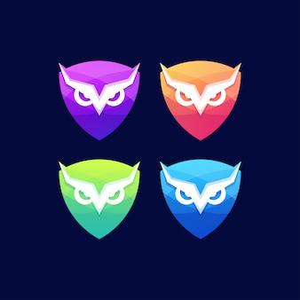 Shield owl bird wing badge