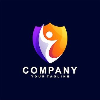 Shield people gradient logo template