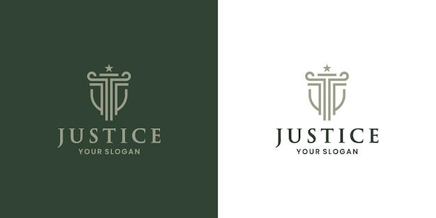 Столб щита, правосудие, вектор дизайна логотипа адвоката