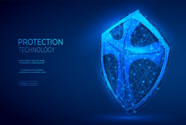 Shield polygonal abstract blue banner.