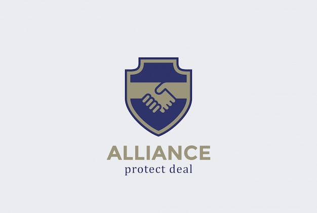 Shield protect deal handshake logo vector icon.