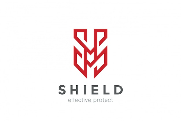 Щит защиты логотипа буква m значок логотипа
