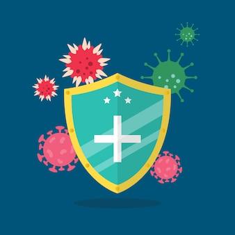 Shield protecting virus icons