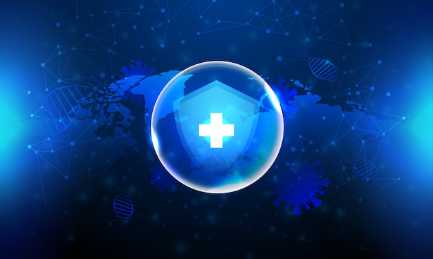Shield protection corona virus in blue background and world map