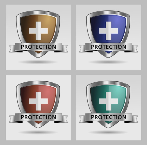 Shield protection icon set safety security