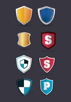 Изображение значков защиты щита