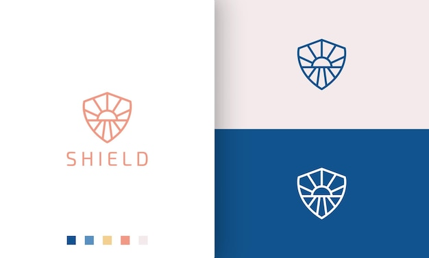 Shield or protection logo in simple mono line and modern style sun sea shape