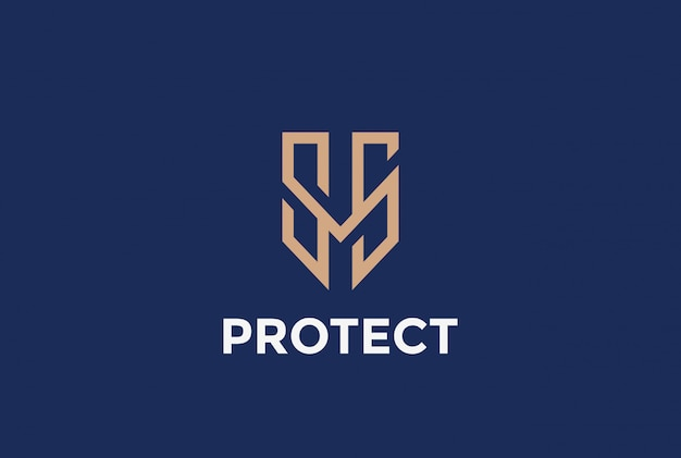 Shield protection logo vector icon.