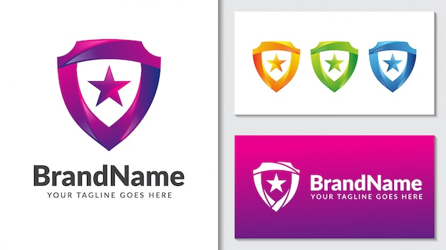 Shield protection star gradient logo template