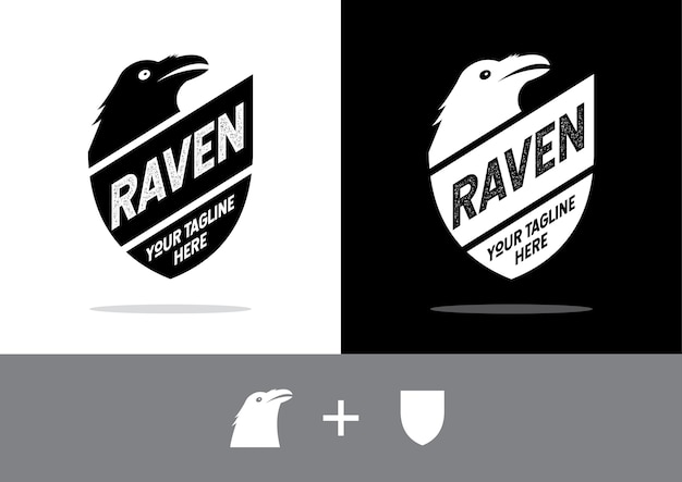 Shield and raven. shield with a black raven.
