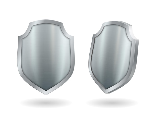 Shield realistic metal 3d icons set, silver medieval knight guard element. template award trophy, military armor isolated on white background with shadow. vector illustration