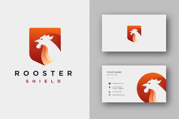 Щит логотип петуха и шаблон визитной карточки