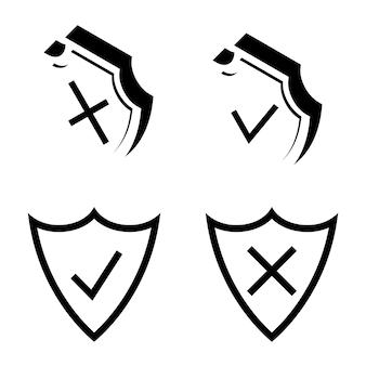 シールドセキュリティ。アーマープレート。セキュリティと保護の概要アイコン。チェックマークアイコン。チェックティックとリジェクトのシンボルはシールドにあります。承認と拒否のシンボル。ベクター