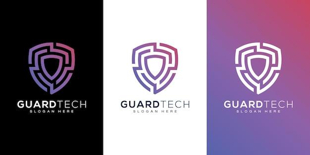 Дизайн логотипа безопасности щита и визитная карточка
