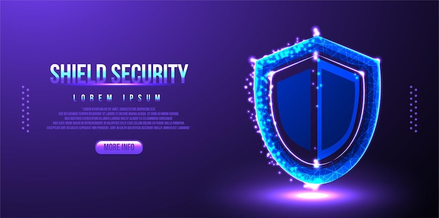 Shield security low poly wireframe