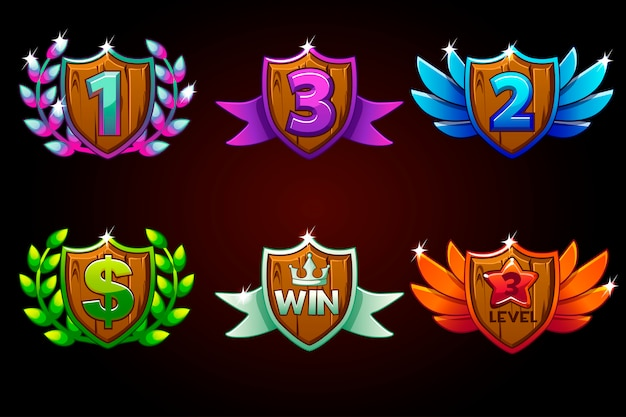 Shield set, awards or icons. awards 1st, 2nd, 3rd place. for game, user interface, banner, application, interface, slots, game development.