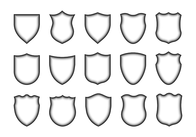 Shield shape icons. heraldic shields. protect, arms.