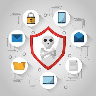 Shield skull and bones technology virus danger
