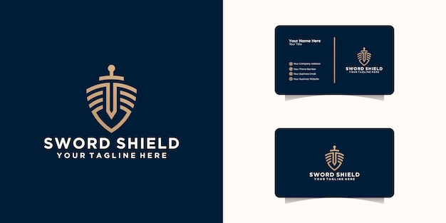 Shield sword law firm security logo and business card