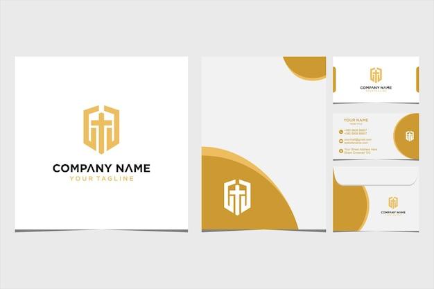 会社と名刺の封筒とレターヘッドプレミアムベクトルプレミアムベクトルのシールドソードロゴデザインのインスピレーション