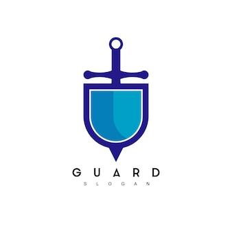 Щит меч дизайн логотипа вдохновение
