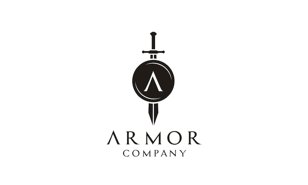 Shield and sword logo design