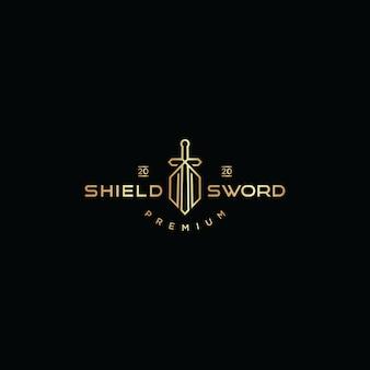 Shield and sword logo icon design