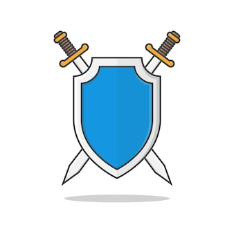 Shield and swords   illustration. metal shield with crossed swords flat